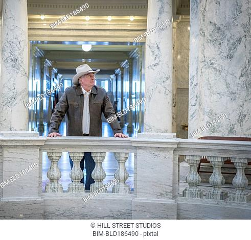 Caucasian man standing in capitol