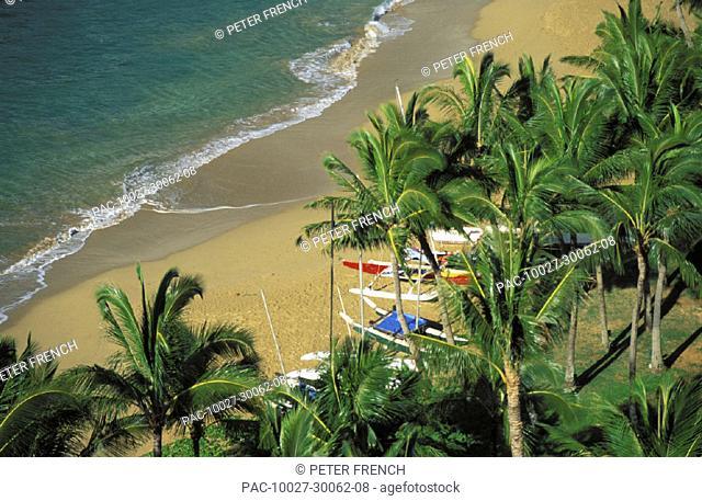Hawaii, Kauai, Lihue, Kalapaki beach, view from above with palms