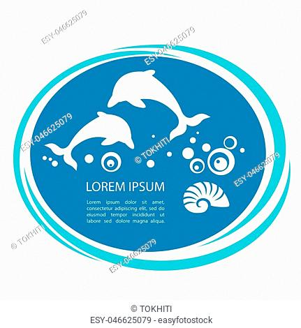 Two dolphins jumping and text frame. Design element for template