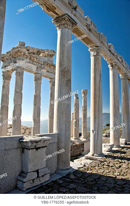 Ruins of temple of Trajaneum in Pergamon, Bergama, Turkey