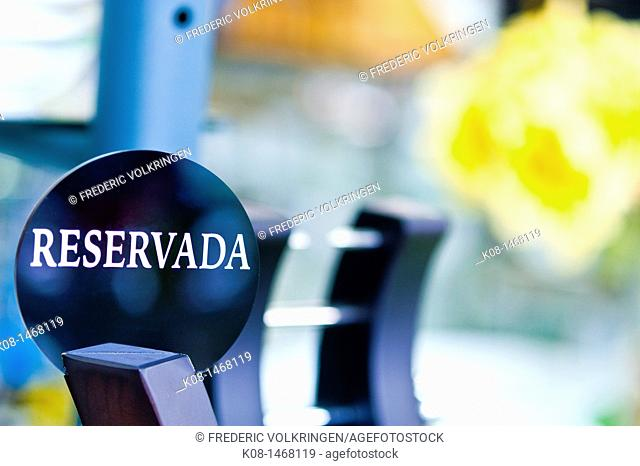 Reserved sign, catering, conceptual, manufactory
