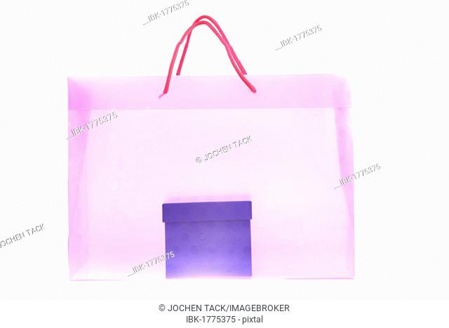 Clear plastic bag with a paper gift box