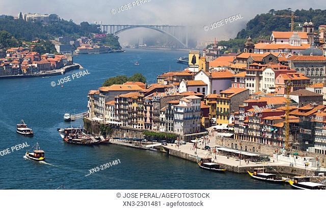 On background Arrábida bridge, Picture take from Luís I or Luiz I Bridge, Douro river, Porto, Portugal, Europe