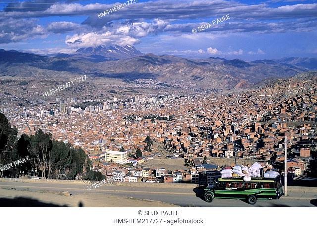 Bolivia, La Paz, city dominated by Illimani Volcano 21,201 ft