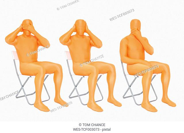Men in orange zentai gesturing on white background