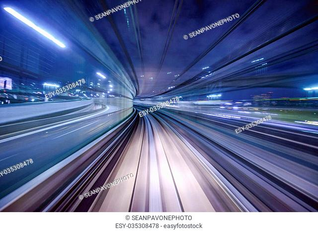 Monorail motion blur on the Yurikamome in Tokyo, Japan
