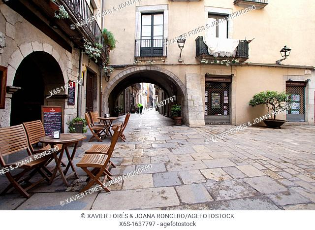Streets near the city town in Girona, Spain