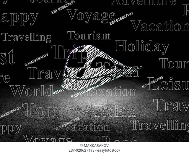 Travel concept: Glowing Train icon in grunge dark room with Dirty Floor, black background with Tag Cloud