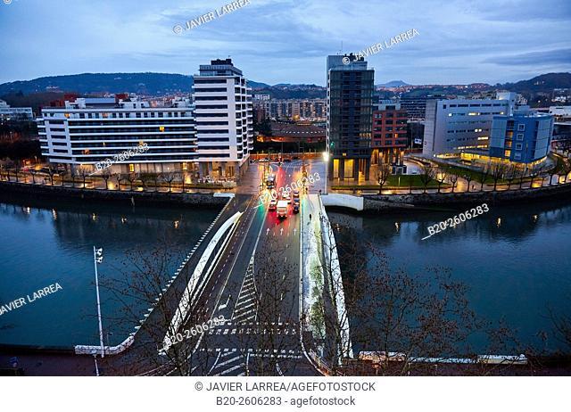 Lehendakari Agirre bridge, Urumea River, Donostia, San Sebastian, Basque Country, Spain