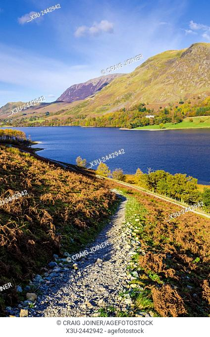 Buttermere lake and High Snockrigg fell from the eastern slope of Buttermere Fell in the Lake District, Cumbria, England