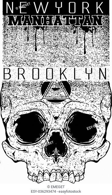 Newyork manhattan bronx motorcycle typography, t-shirt graphics, vectors, vintag