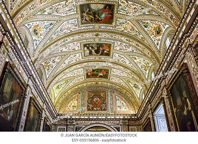 Ceiling of Guadalupe Monastery Sacristy, Caceres, Spain. World Heritage by UNESCO