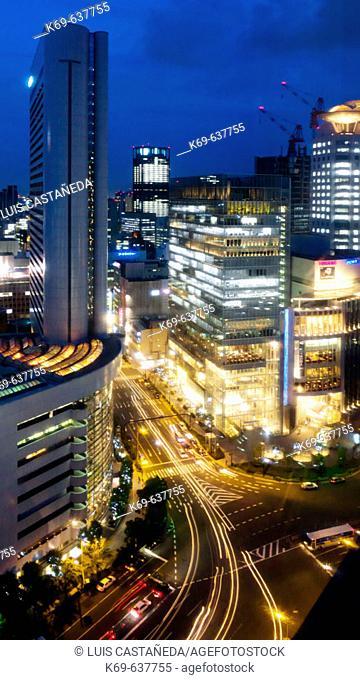 Skyline overview at evening, Osaka. Japan