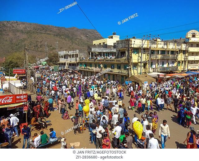 visitors at street at maha shivaratri muhurta festival at junagadh, gujarat, india
