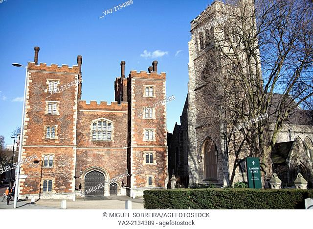 Mortons Tower part of Lambeth palace on left, next to St-Mary-at-Lambeth Church in London UK