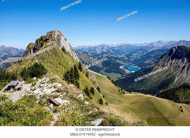 View from Rochers de Naye on Swiss Alps with mountain lake, near Montreux, canton of Vaud, Switzerland