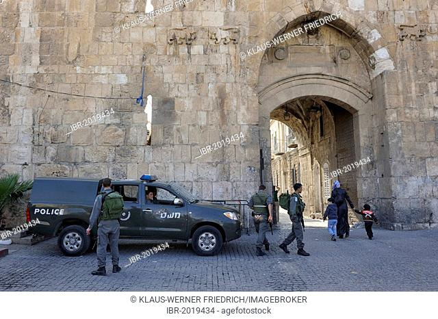 Soldiers guarding the Lion Gate, Old City of Jerusalem, Israel, Middle East