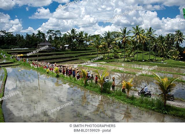 Tourists walking on rural field between farm fields
