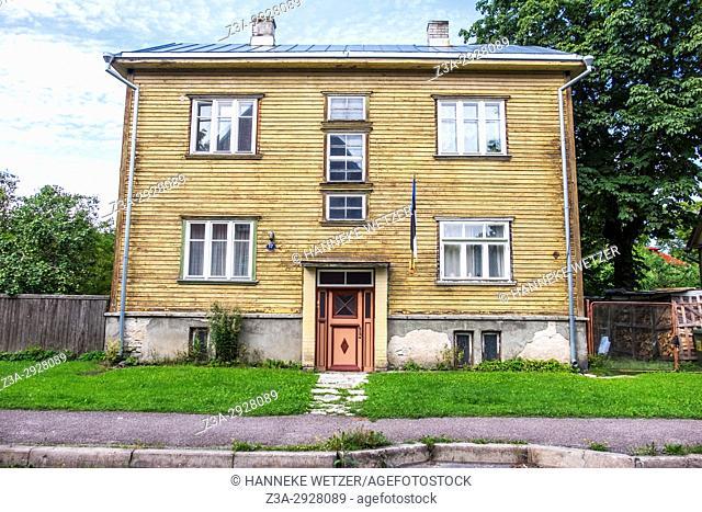 Traditional wooden houses in the Kalamaja neighborhood of Tallinn, Estonia