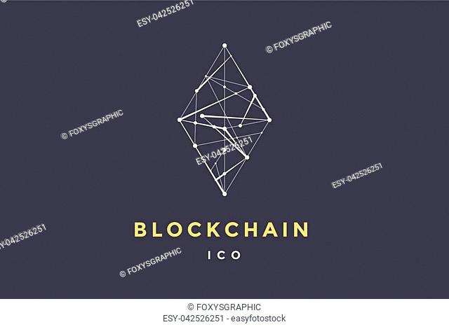 Template logo for blockchain technology. Rhombus with connected lines for brand, logo, logotype of smart contract block symbol