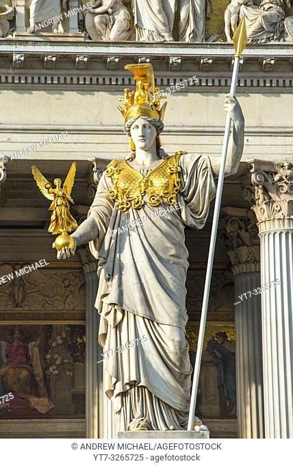 Pallas Athena statue at the Parliament Building, Vienna, Austria