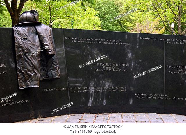 A memorial in Boston's Back Bay honors the firemen who were killed on the job