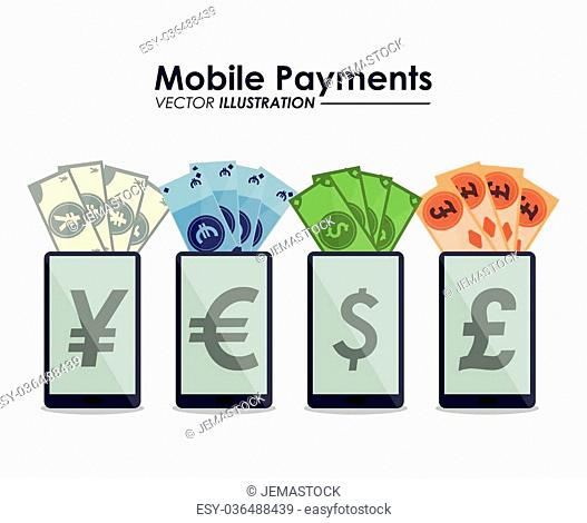 Mobile payment concept with ecommerce icon design, vector illustration 10 eps graphic