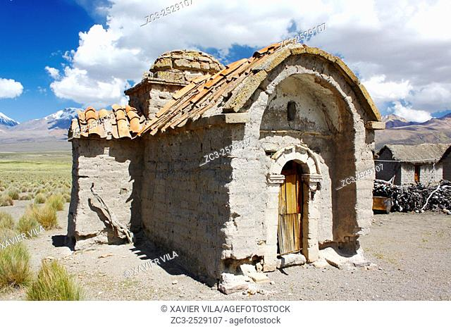 Little chapel, church in the National park of Sajama, Altiplano, Bolivia