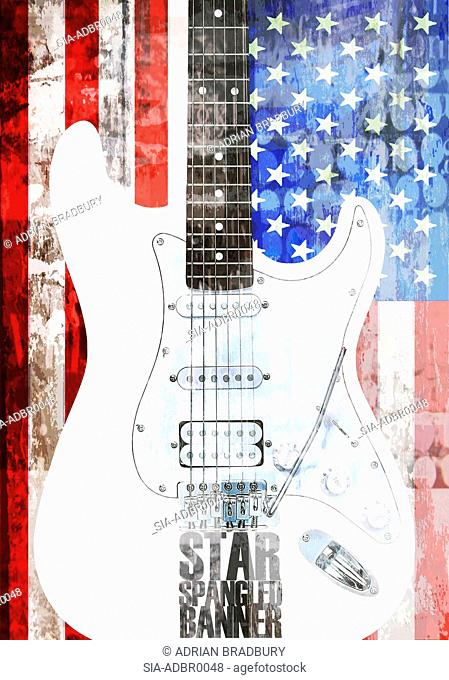 Electric guitar against American flag