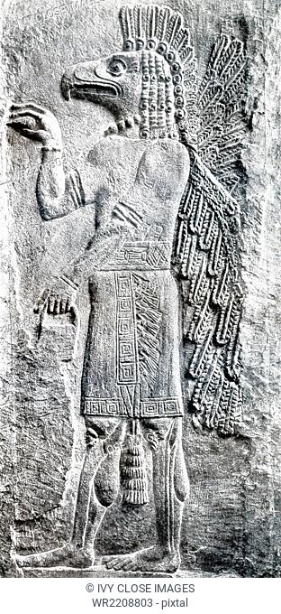 This winged eagle-headed Assyrian creature was known as an apkallu. Following Assyrian custom, it wears a wristband with a rosette design