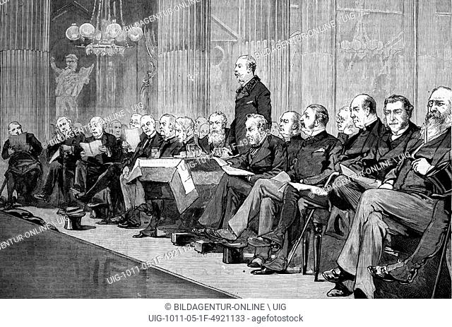 The proposed memorial to the late archbishop tait, the duke of albany addressing the meeting at the mansion house, london, england, historic image, 1883