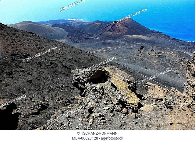 La Palma, Canary Islands, view from the San Antonio volcano to volcano Tenegia at Cap Fuencaliente