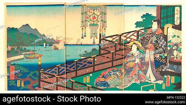 Mitsuuji in the Maruyama Pleasure District of Nagasaki (Nagasaki dejima). Artist: Utagawa Kunisada (Japanese, 1786-1865); Artist: Utagawa Hiroshige II (Japanese