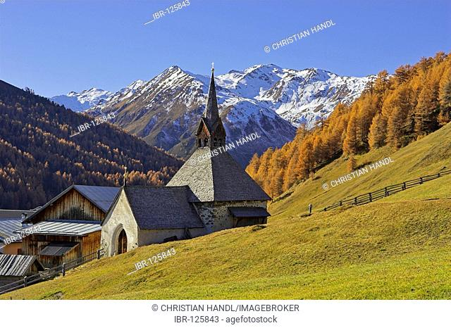 Gotic church St.Nikolaus, mountain village Rojen (2000m), South Tyrol, Italy