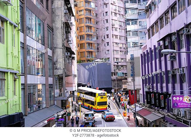 elevated view of Lyndhurst Terrace and intersection with Hollywood Road, Hong Kong
