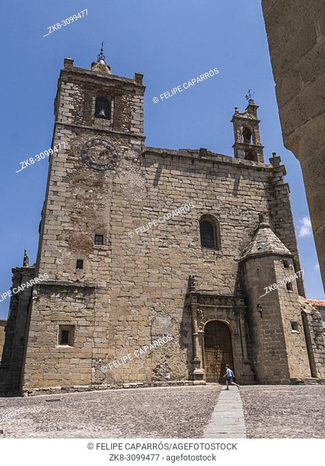 Caceres, Spain - july 13, 2018: Church of San Mateo located in the square of the same name, main facade with Plateresque façade