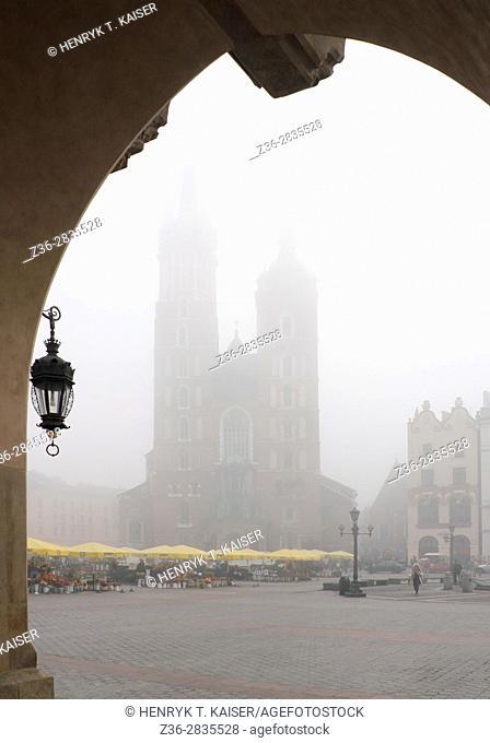 St Mary Basilica from Clloth Market, Krakow, Poland