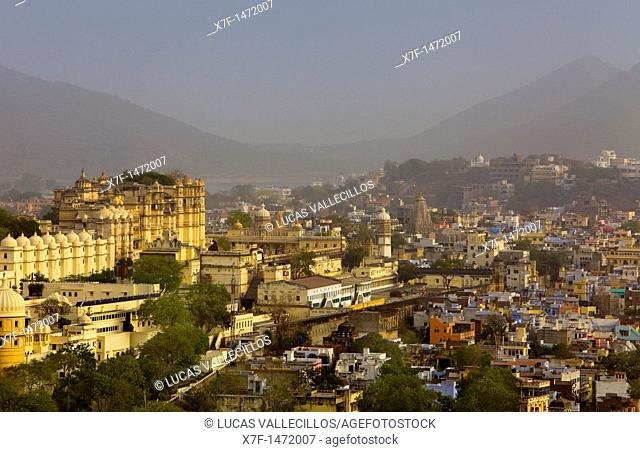 City Palace and skyline of Udaipur,Udaipur, Rajasthan, india