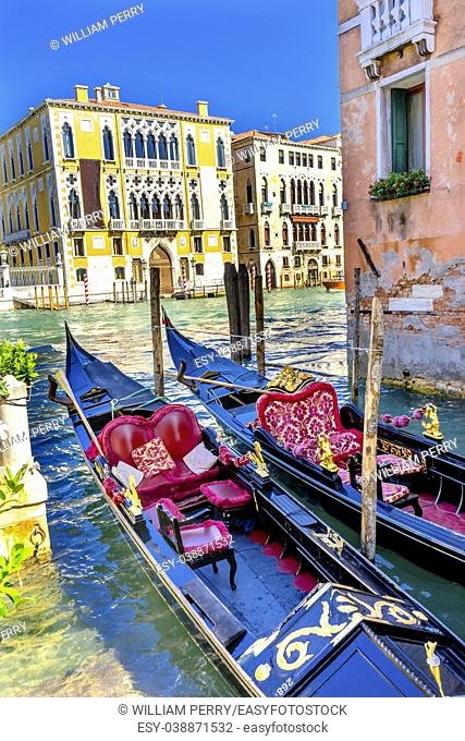 Colorful Gondolas Grand Canal Buildings Boats Reflections Venice Italy