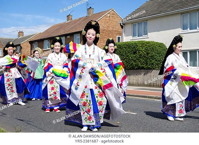 Dancers from South Korea at the opening ceremony parade at the 50th Billingham International Folklore festival. Billingham, north east England, United Kingdom