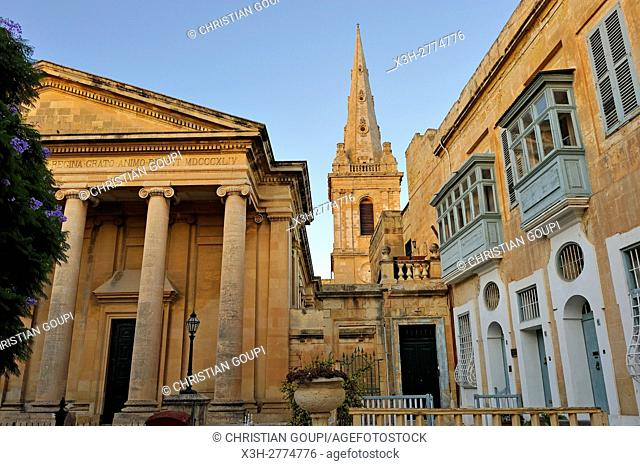 bell tower of St. Paul's Anglican Pro-Cathedral seen from the Independance Square, Valletta, Malta, Southern Europe