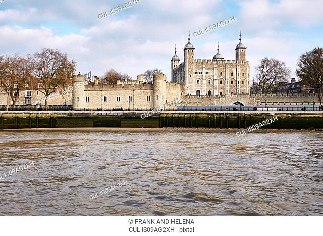 View of the Tower of London and the Thames, London, UK