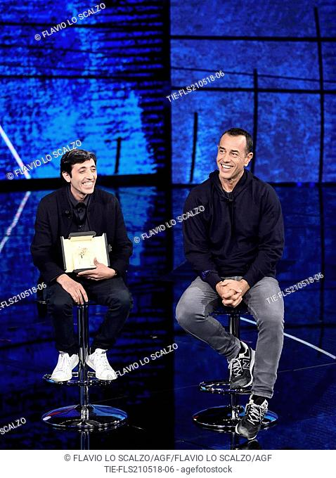 The actor Marcello Fonte, winner best actor at Cannes Film Festival, the director Matteo Garrone during the tv show Che tempo che fa, Milan, ITALY-20-05-2018
