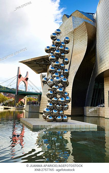 Sculpture at Guggenheim Museum, Bilbao, Tall Tree and the Eye by Anish Kapoor