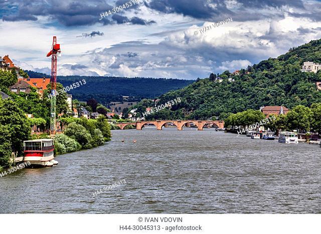 Neckar river and old city, Heidelberg, Baden-Wurttemberg, Germany