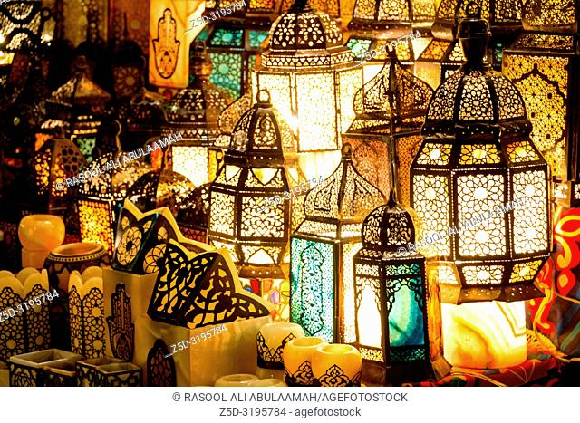 Cairo, Egypt – November 5, 2018: photo for Ramadan lanterns in the front of one of shop in Khan el-Khalili in Cairo city capital of Egypt