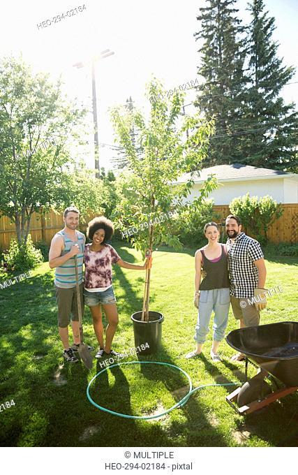 Portrait smiling friends planting tree in sunny backyard