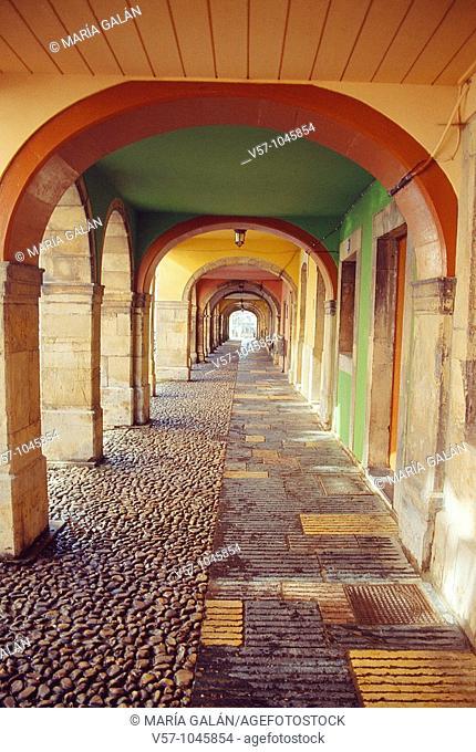 Arcade, Galiana street. Avilés, Asturias province, Spain