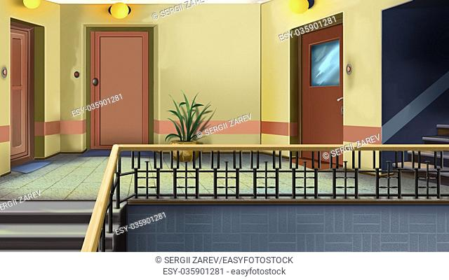 Digital painting of the Entrance to the apartment in residential building. Entryway and doors