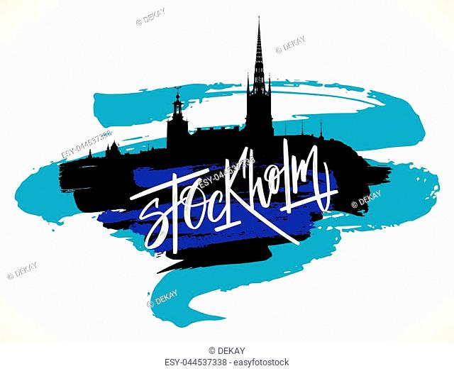 Stockholm skyline hand drawn vector illustration. Black silhouette and blue artistic brush strokes isolated over whte background